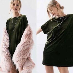 NWT Urban Outfitters Ecote Velvet Shirtdress Moss